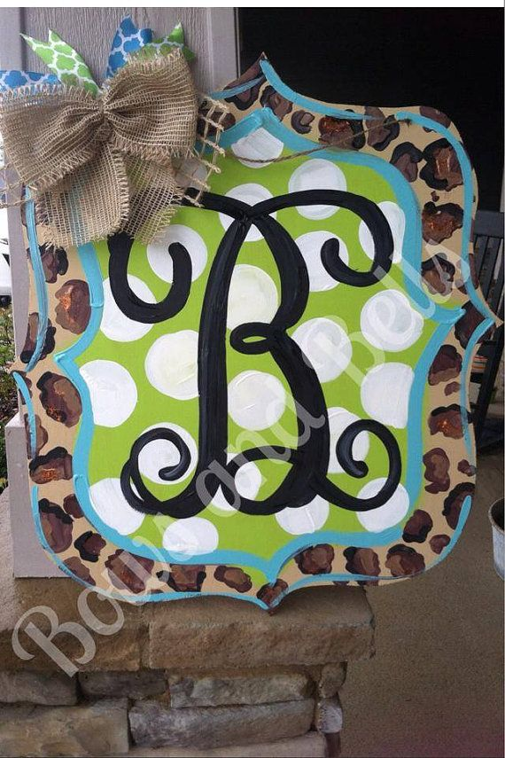 monogram door hanger, Summer Door Hanger, cheetah door ...