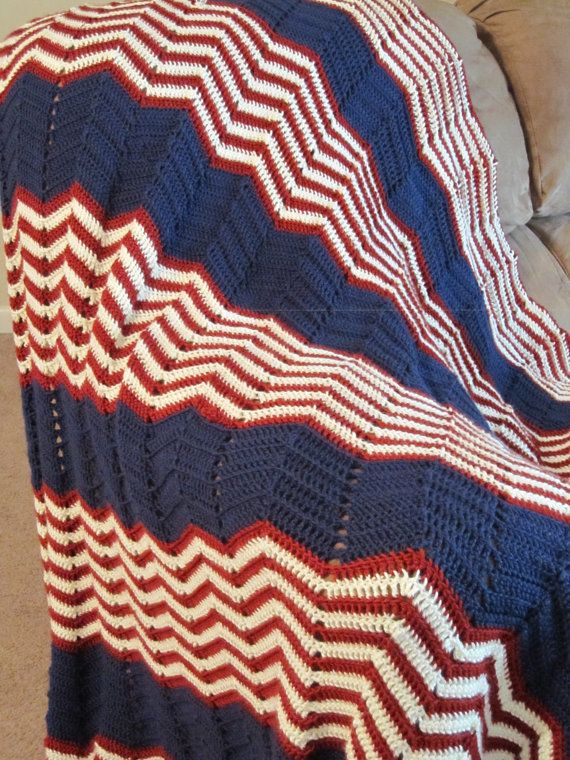 American Flag Ripple Afghan by SarahHookedOnCrochet on Etsy, $85.00 ...