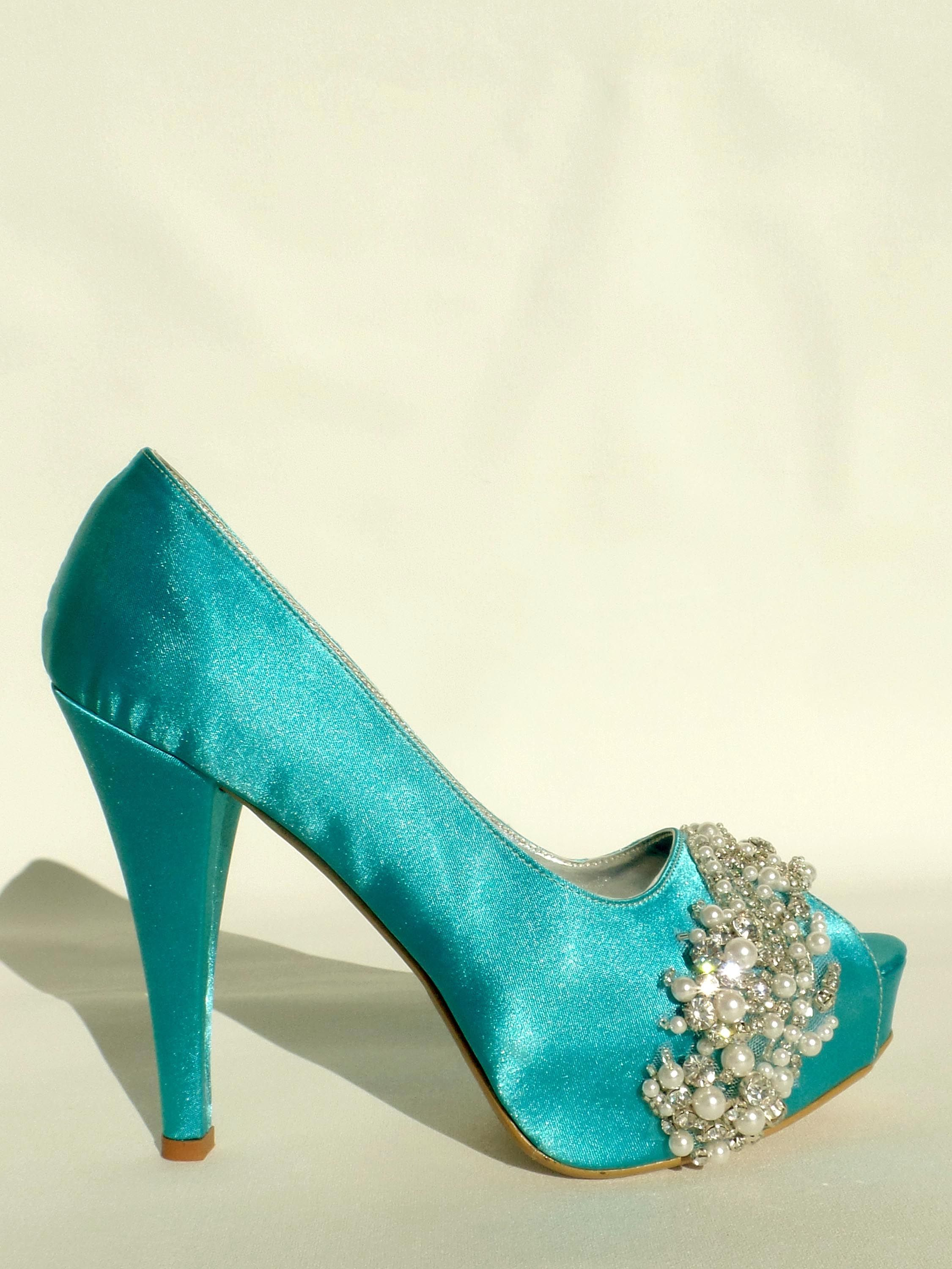 Teal satin wedding shoes with rhinestonesupearls  Tealusilver