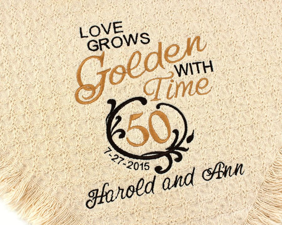 Personalized 50th Golden Wedding Anniversary Embroidered Etsy Golden Wedding Anniversary 50 Golden Wedding Anniversary 50 Wedding Anniversary Gifts