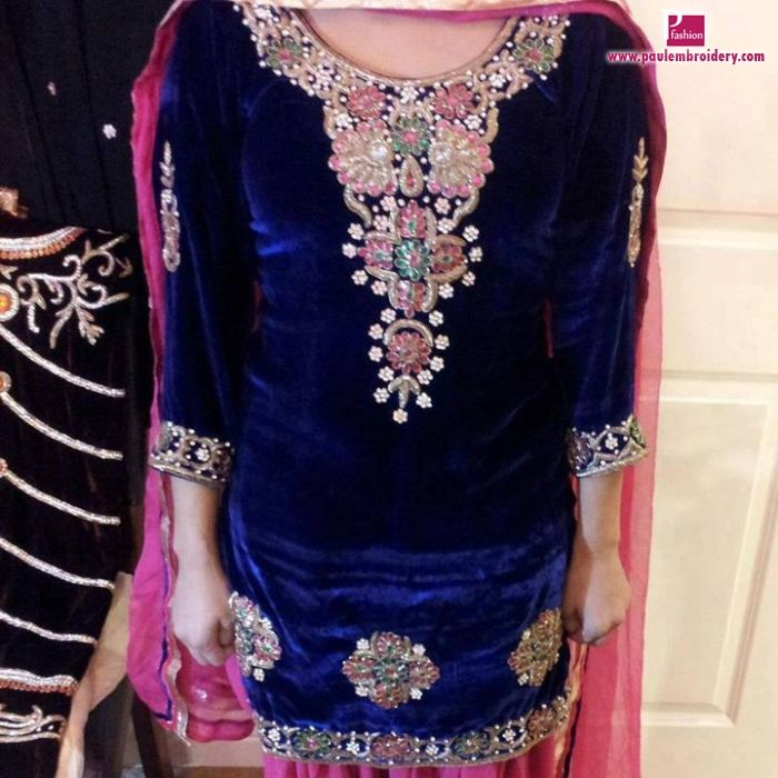 Love the embroidery on this blue velvet punjabi suit