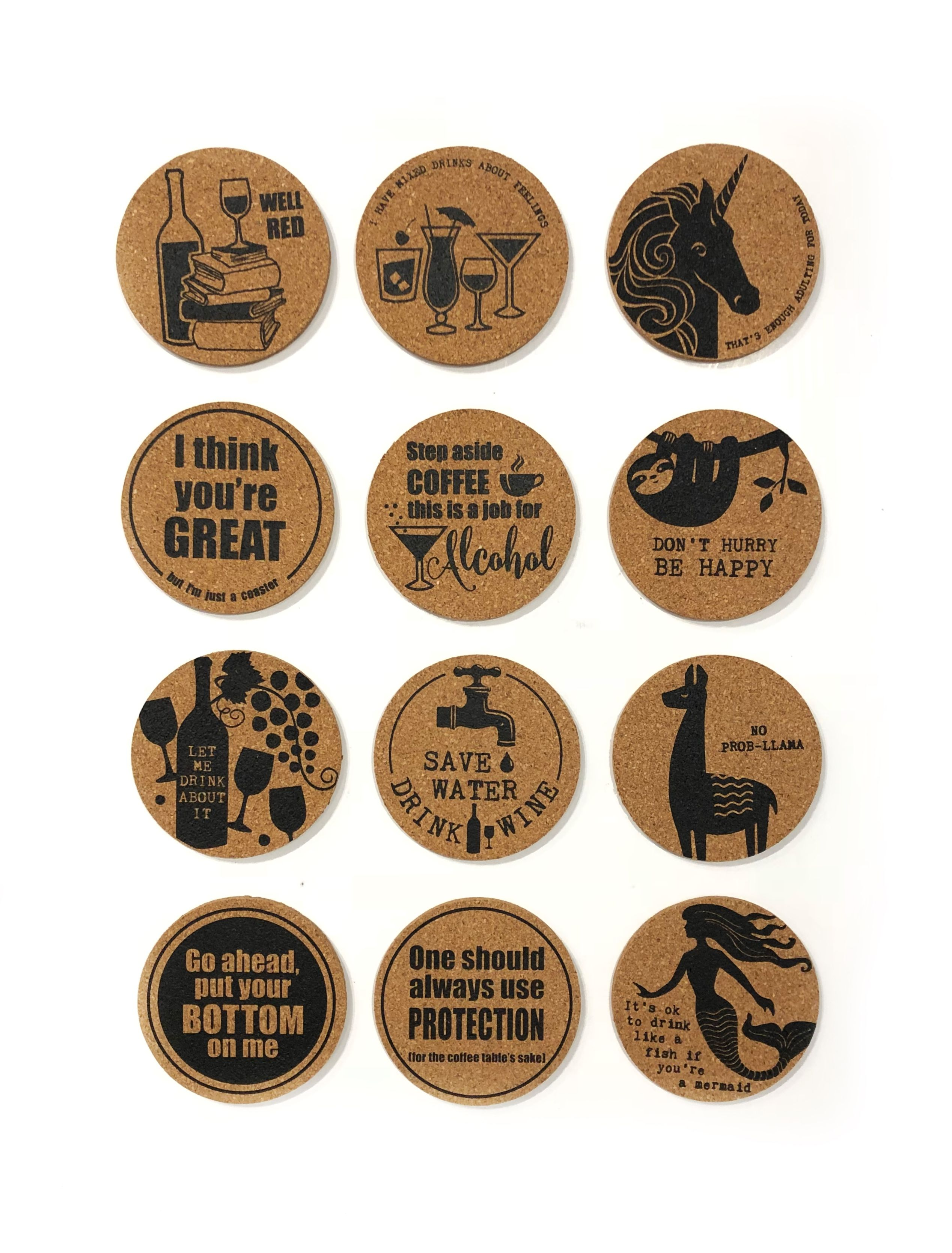 Cork coasters by ganz gifts available at twisted goods