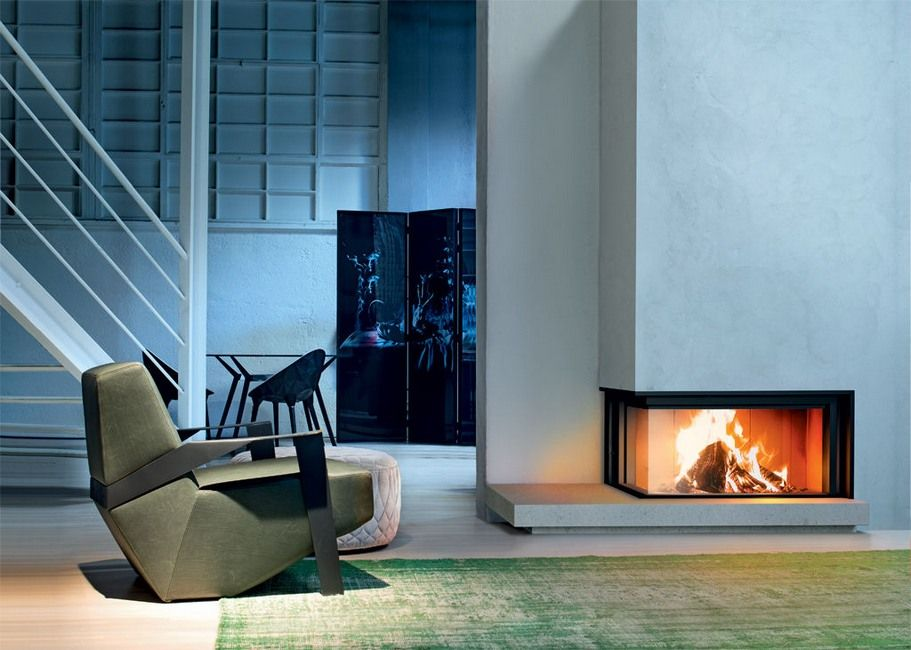 Modern designed living room rectangle two sided corner fireplace ...