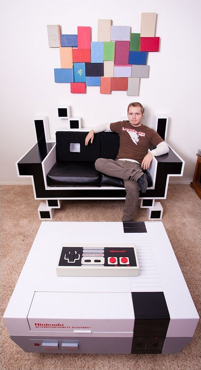 15 Gorgeously Geeky Pieces Of Furniture That Will Inspire Your Inner Nerd Game Room Geek Stuff Man Cave