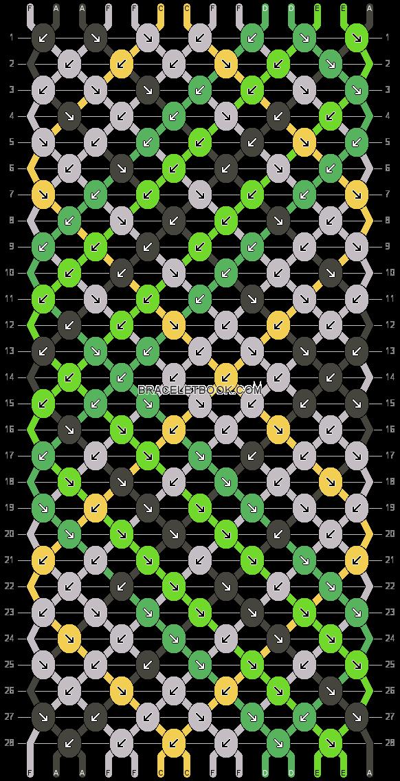 Bracelet Pattern #20018 - 14 Strings, 5 Colors