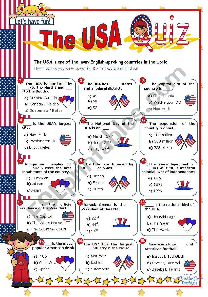 The Usa Quiz Worksheet Worksheets For Kids Quiz History Quiz [ 1169 x 821 Pixel ]