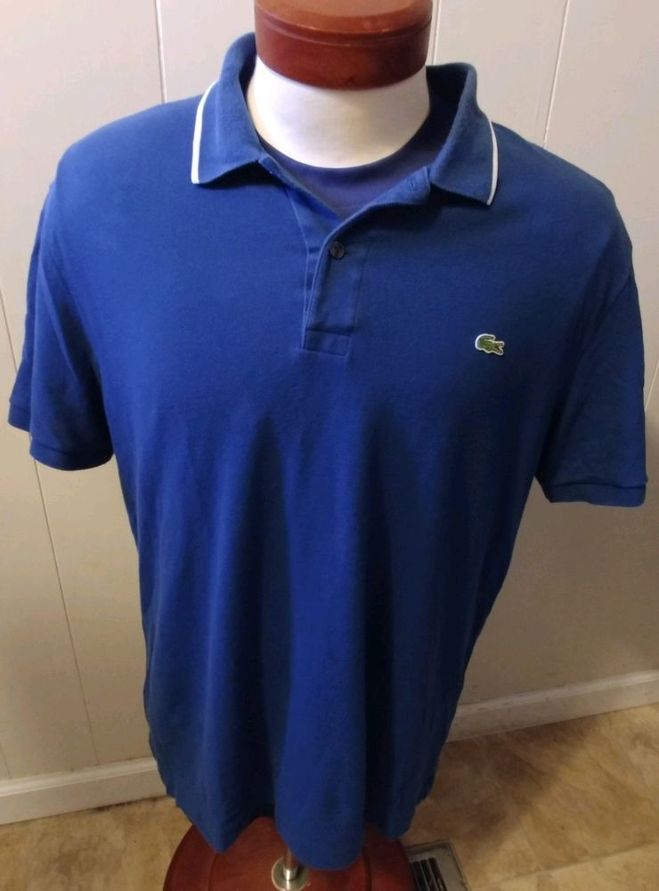 58463e53 Lacoste Men's S/S Golf Polo Shirt Blue Size 7 XL US Croc Logo #fashion  #clothing #shoes #accessories #mensclothing #shirts (ebay link)