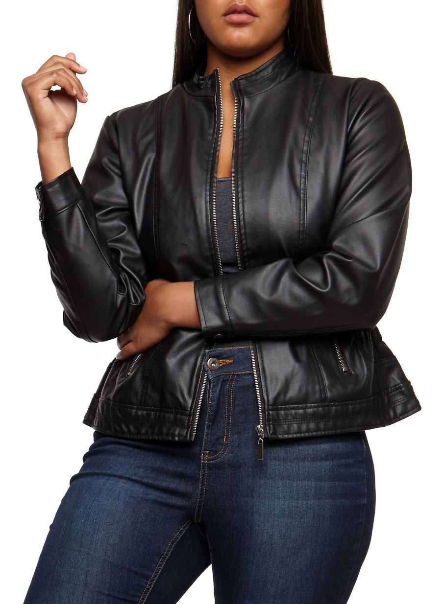 eeace0de06 Plus Size Faux Leather Ruched Jacket