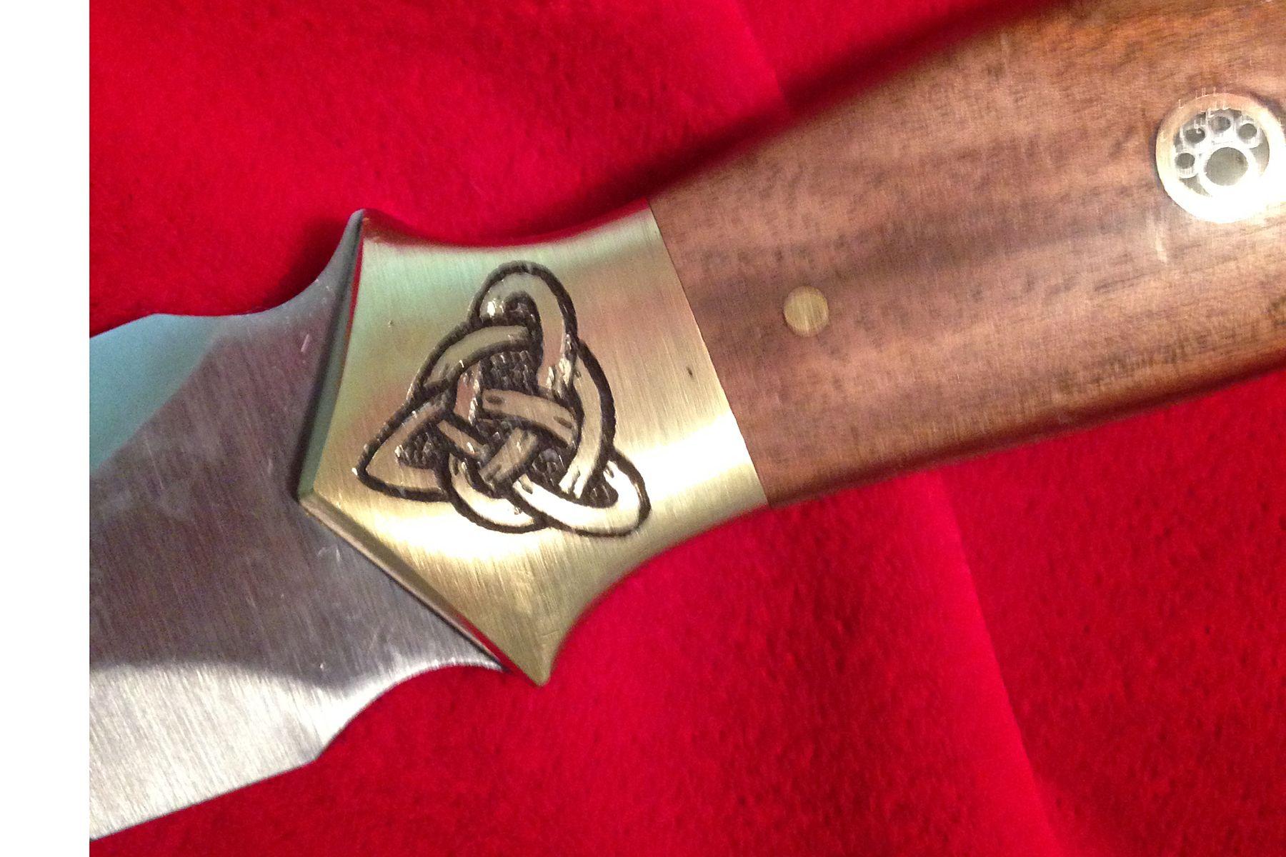 Hand etched celtic dagger knife. By Patrick Dagger knife