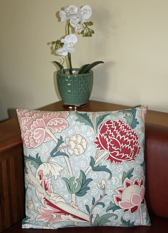 William Morris Cray Cushion 16 x 16  by ArtsandCraftsLiving