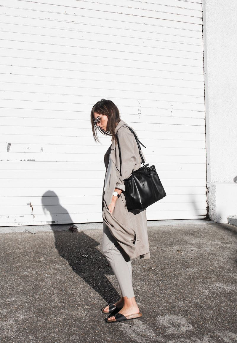 373d5c72115 modern legacy fashion blog Australia fall Zara silky trench coat street  style neutrals Bassike Birkenstock Madrid Alexander Wang bag (2 of 14)