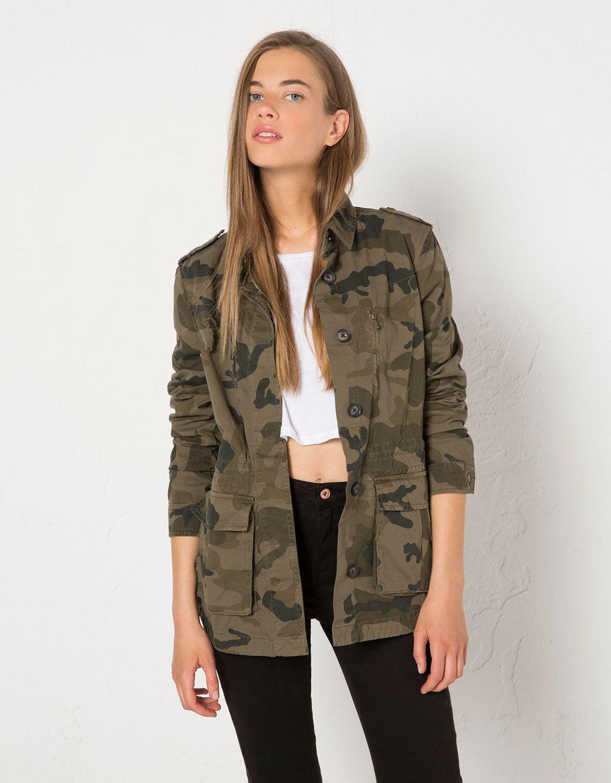 barato mejor valorado Buenos precios Moda Blusão BSK camuflagem | Style,, en 2019 | Cazadora bershka ...