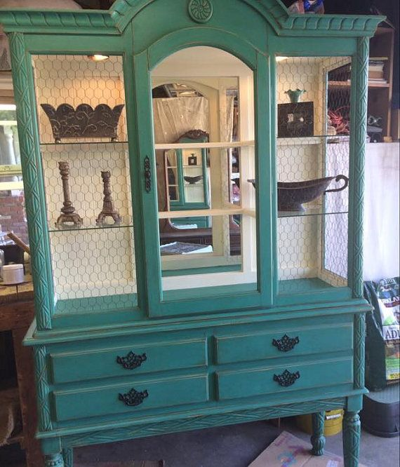 Painted Turquoise Hutch With Chicken Wire China Cabinet Sideboard Buffet Local Pickup