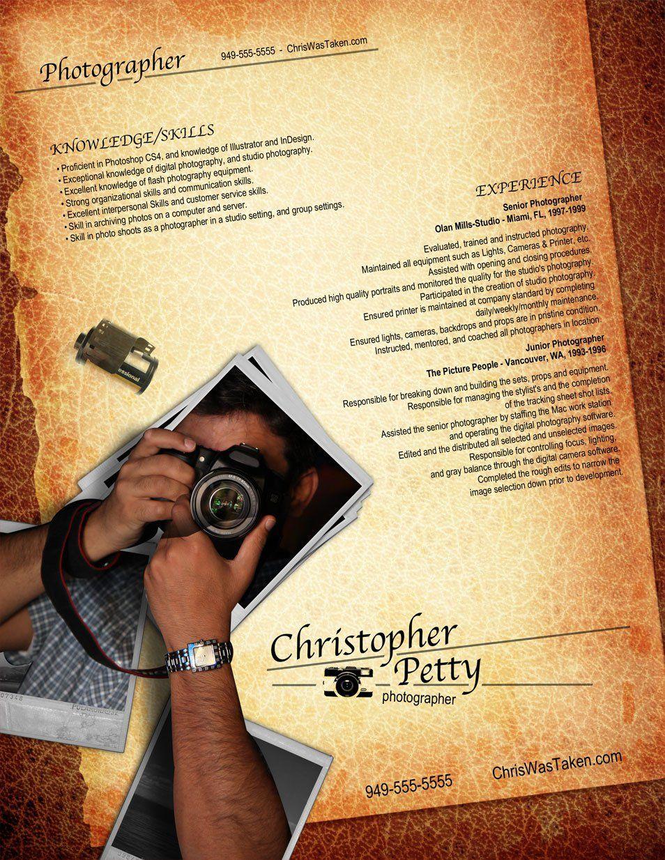 sample resume for photographer