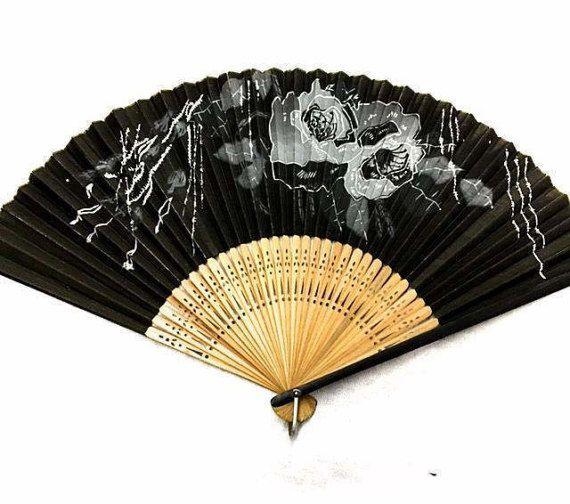 vintage japanese folding fan 1950s black motif