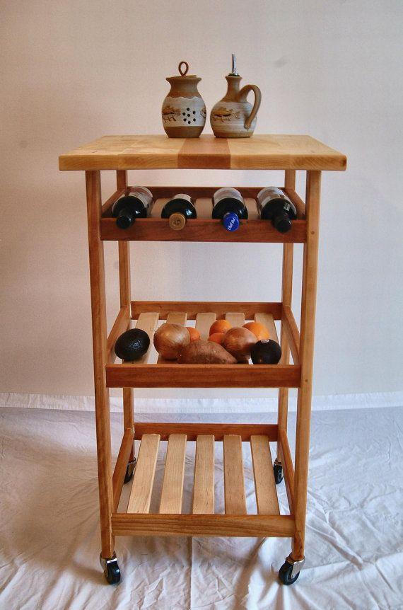 Hard Maple And Cherry Rolling Kitchen Cart Wine Rack Varanda