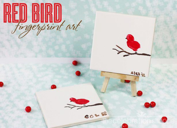 Red Bird Fingerprint Art ~ perfect kid craft for Mother's Day or Christmas :)
