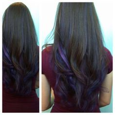 Goldwell hair color. Dark hair purple highlights I don\'t think ...
