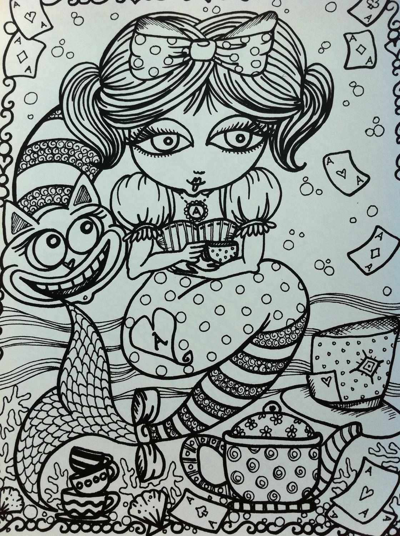 Coloring book alice in waterland mermaid color by chubbymermaid