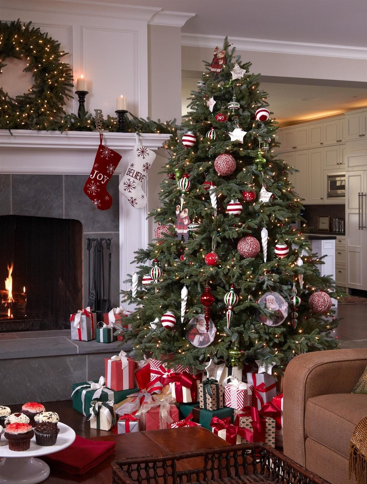 A Fraser Fir Christmas tree beautifully decorated with a red and white color theme