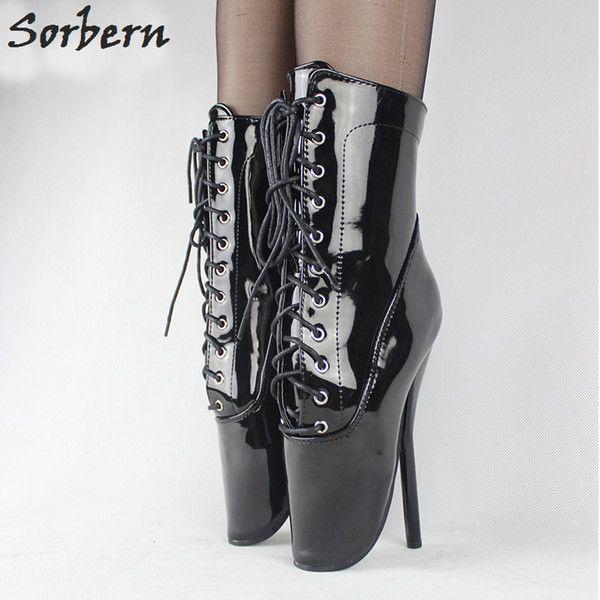 da7a9c9ff246 Hot Black Patent Leather Ballet Heel Boot Shoes Ultra High Heel 18cm 7  Stilleto Heel Ballet Boots Sexy Fetish Women Ankle Ballet Shoes Bootie Buy  Shoes ...