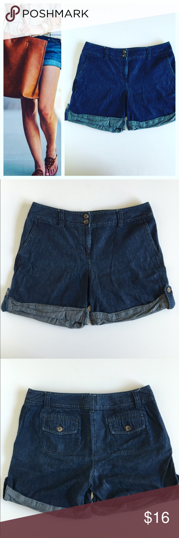 "Ann Taylor Factory Cuffed Denim Shorts. Ann Taylor Factory Cuffed Denim Shorts.  Cute, classic piece. Flat front with zip/button closure and two front pockets. Belt loops. Two buttoned flap rear pockets. Buttoned roll tabs at cuffs. Cotton.  Size 6  Waist - 16.5"" Rise - 10"" Inseam -  6.25"" Ann Taylor Shorts Jean Shorts"