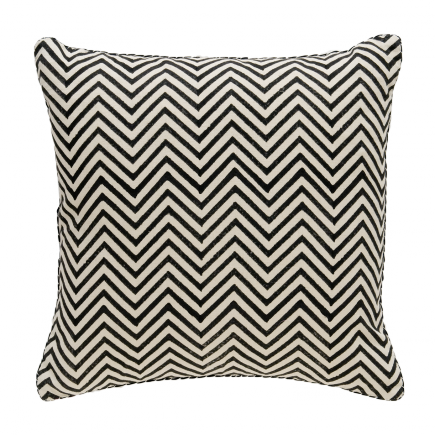 Black Chevron Blockprint Pillow; multiple color options; expensive, but beautiful.