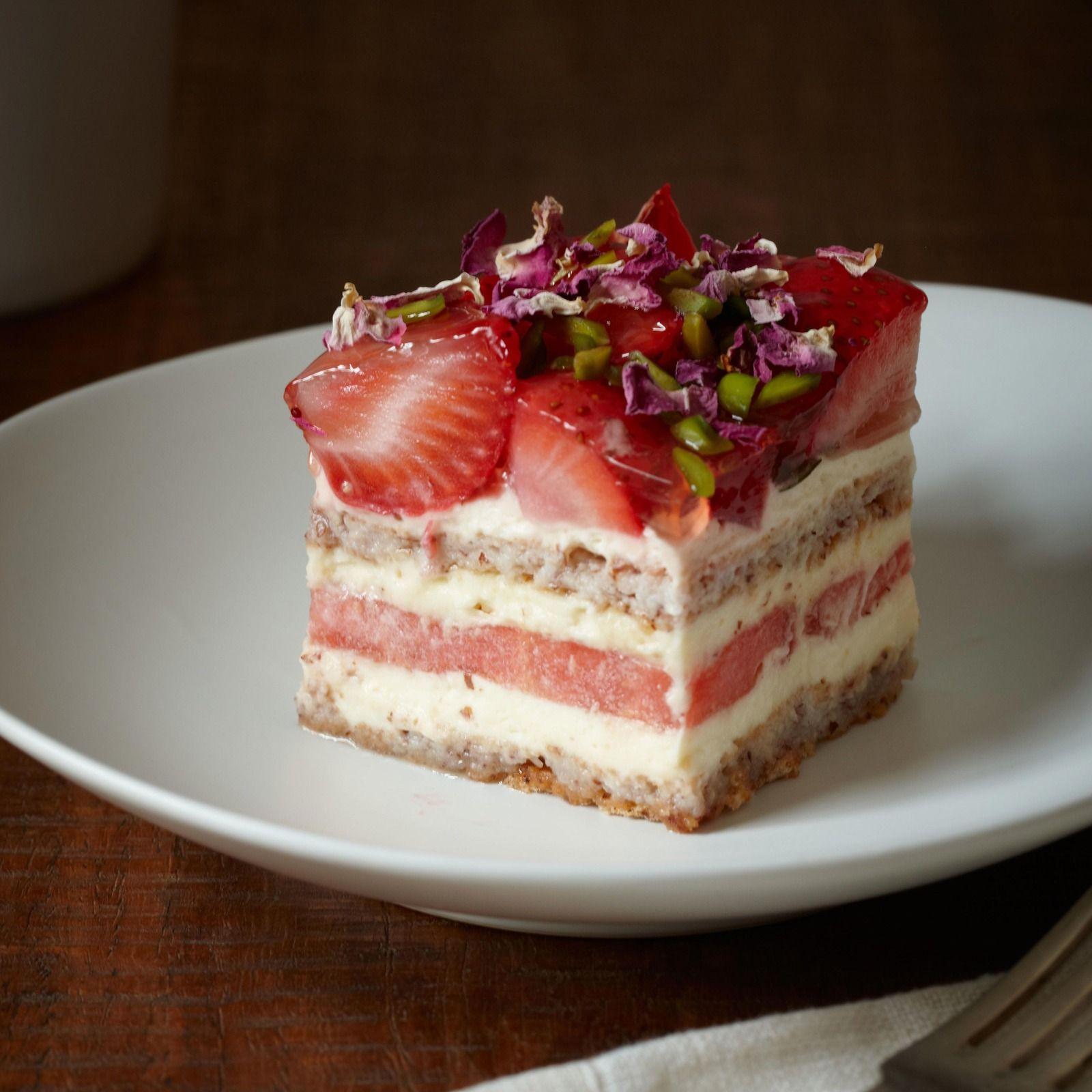 Almond dacquoise, rose scented cream, watermelon