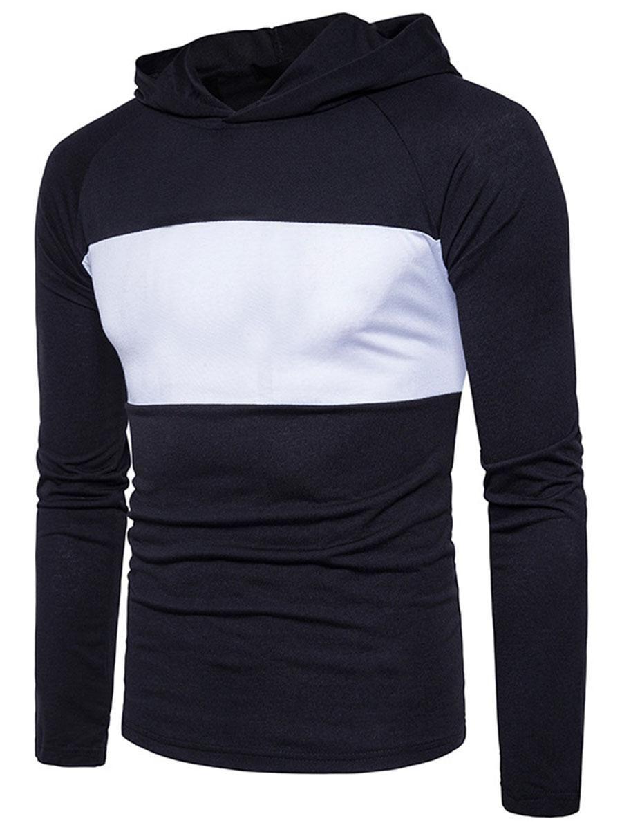 Berrylook berrylook hooded men color block raglan sleeve tshirt