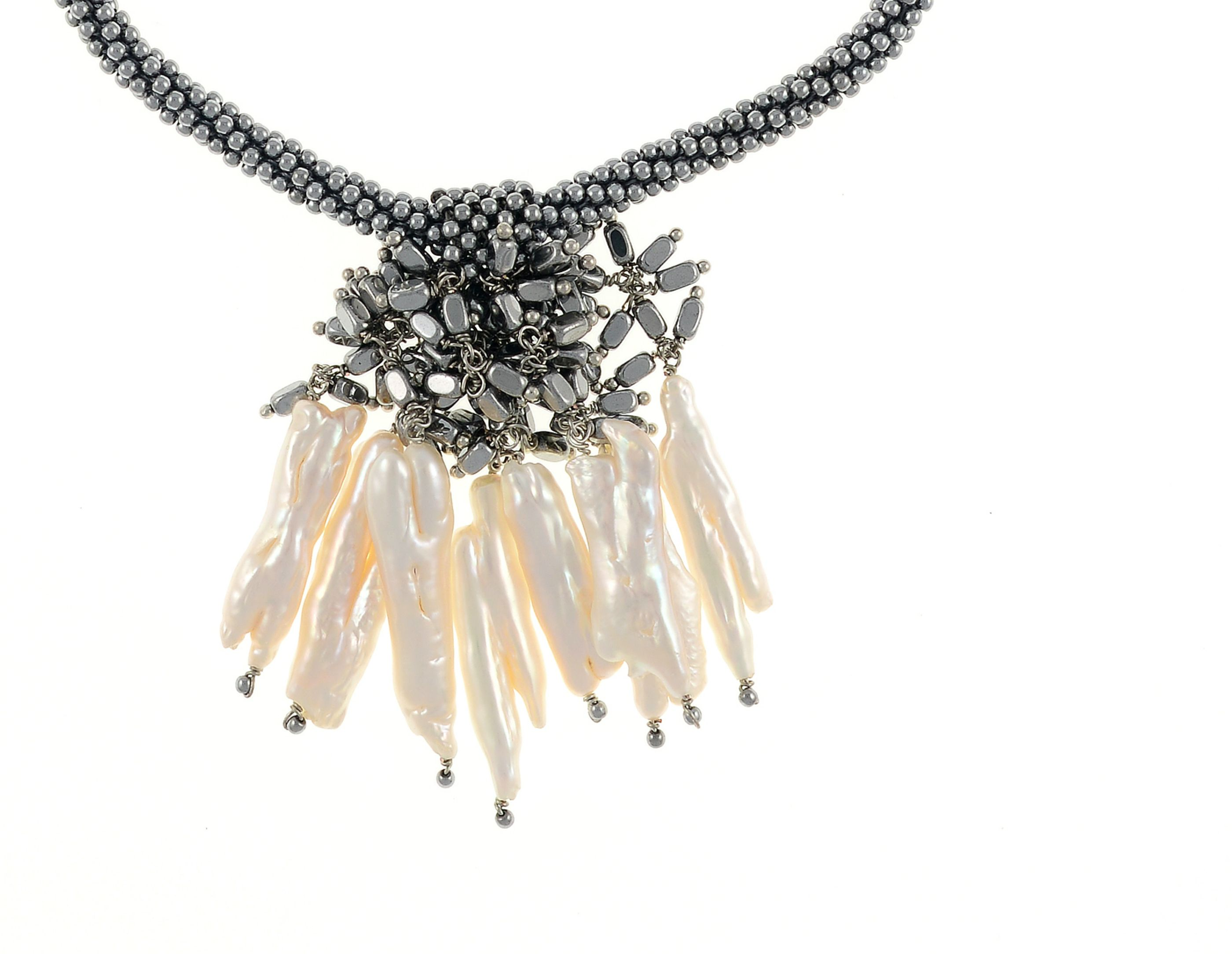 9037e231cb6 The Luray Treasury*- White Tooth Pearl & Woven Hematite Necklace ...