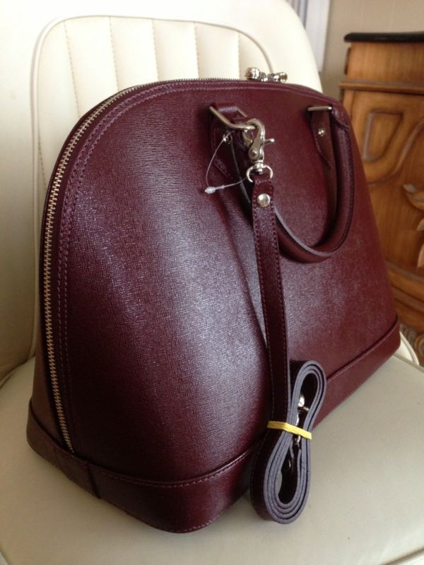 90086e40997a9 NWT Designer PULICATI~Saffiano Leather BURGUNDY Handbag/Shoulder Bag /Crossbody