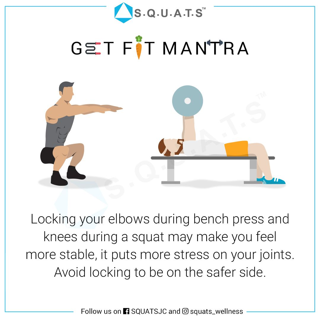 Locking Your Elbows During Your Bench Press And Knees During Your Squat May Make You Feel Stable However It Puts Mo Squats Fitness Tips