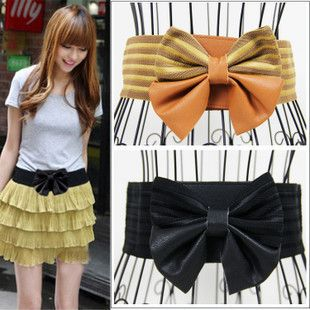 Free Shipping! Min. Order is 10USD(Can Mixed Order) Fashion elegant big bowknot elastic waist wide belt