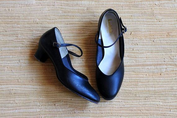 vintage BLACK LICORICE mary janes / Cuban heels by ScottieinaCanoe, $32.00