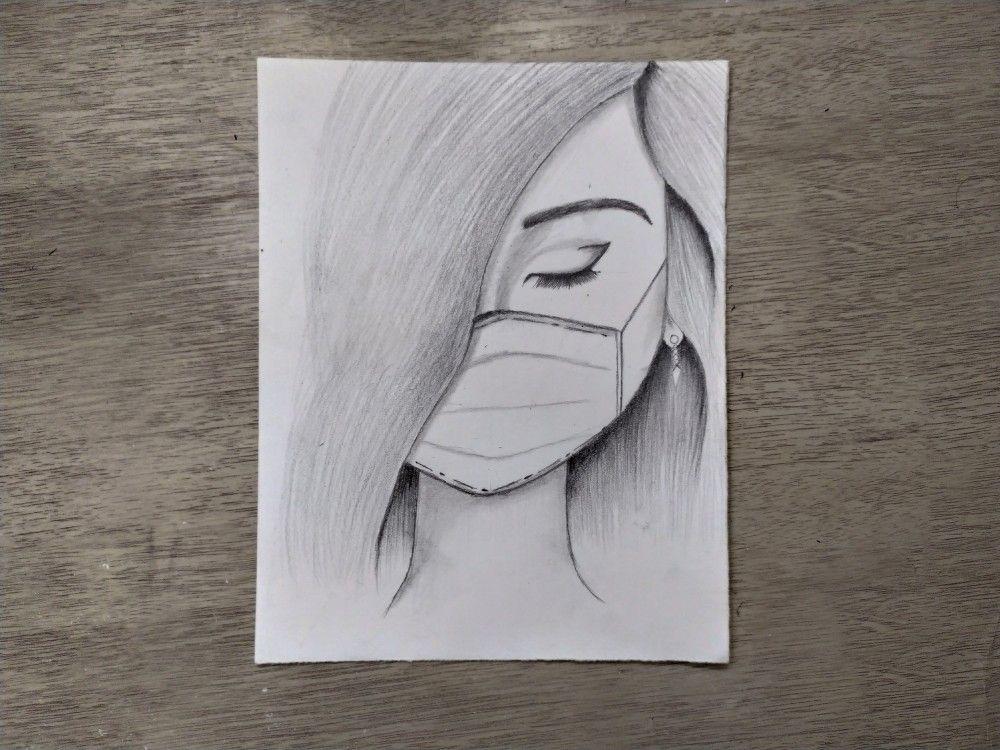 رسم بنات رسم بنت ترتدي كمامة Art Female Sketch