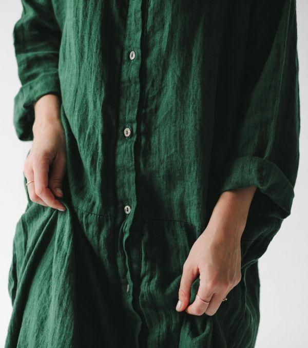 45b1866721 lniana sukienka oversize zielona - mousehouse