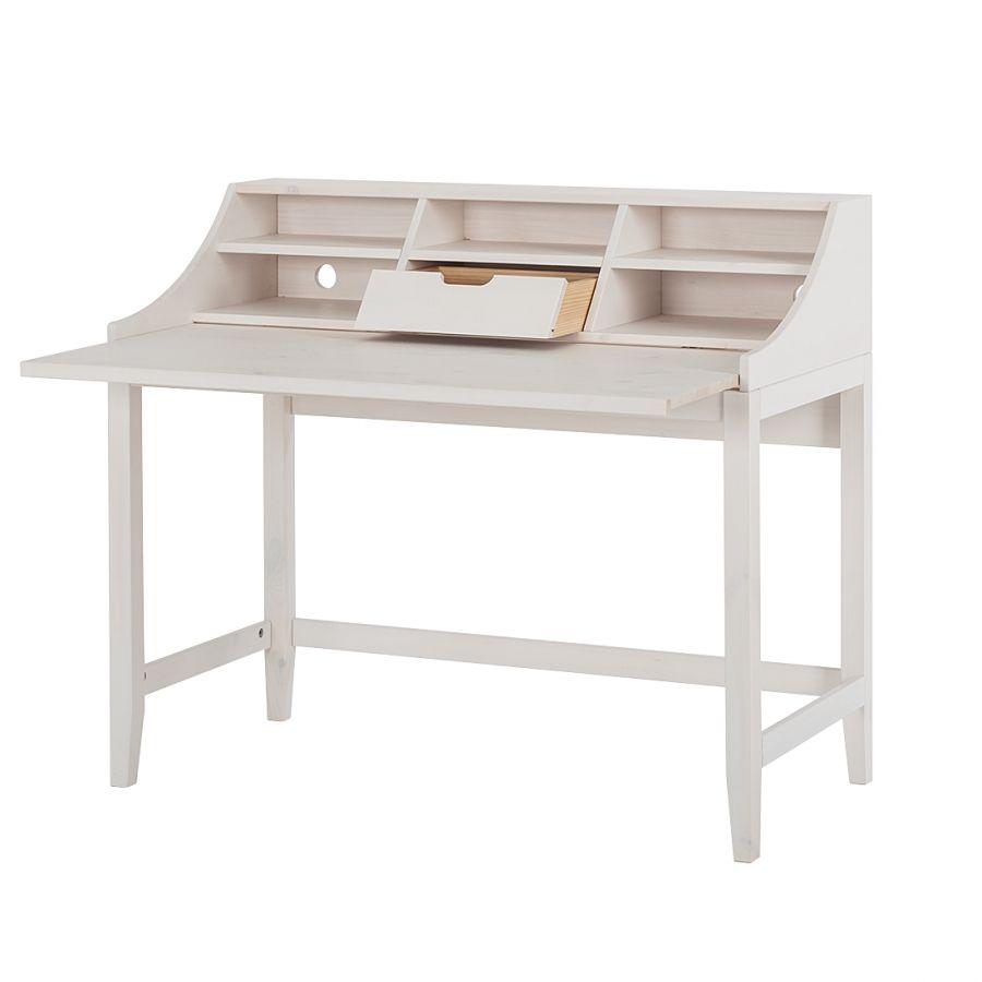 Sekretär Lotte - Kiefer massiv - Weiß | Zilly Schreibtisch | Pinterest