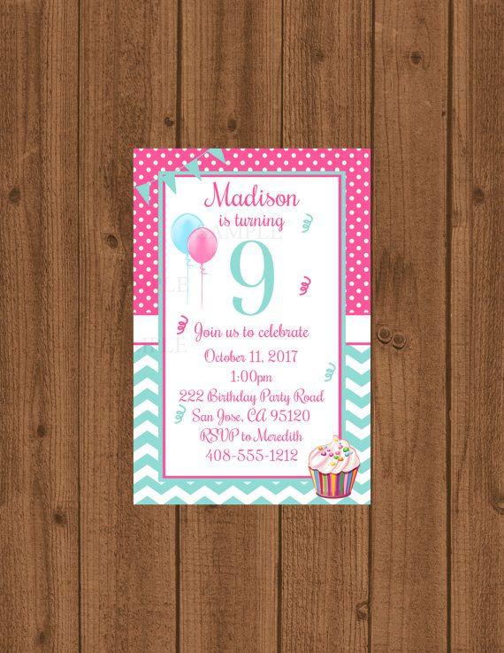 9th Birthday Party Invitation Ninth