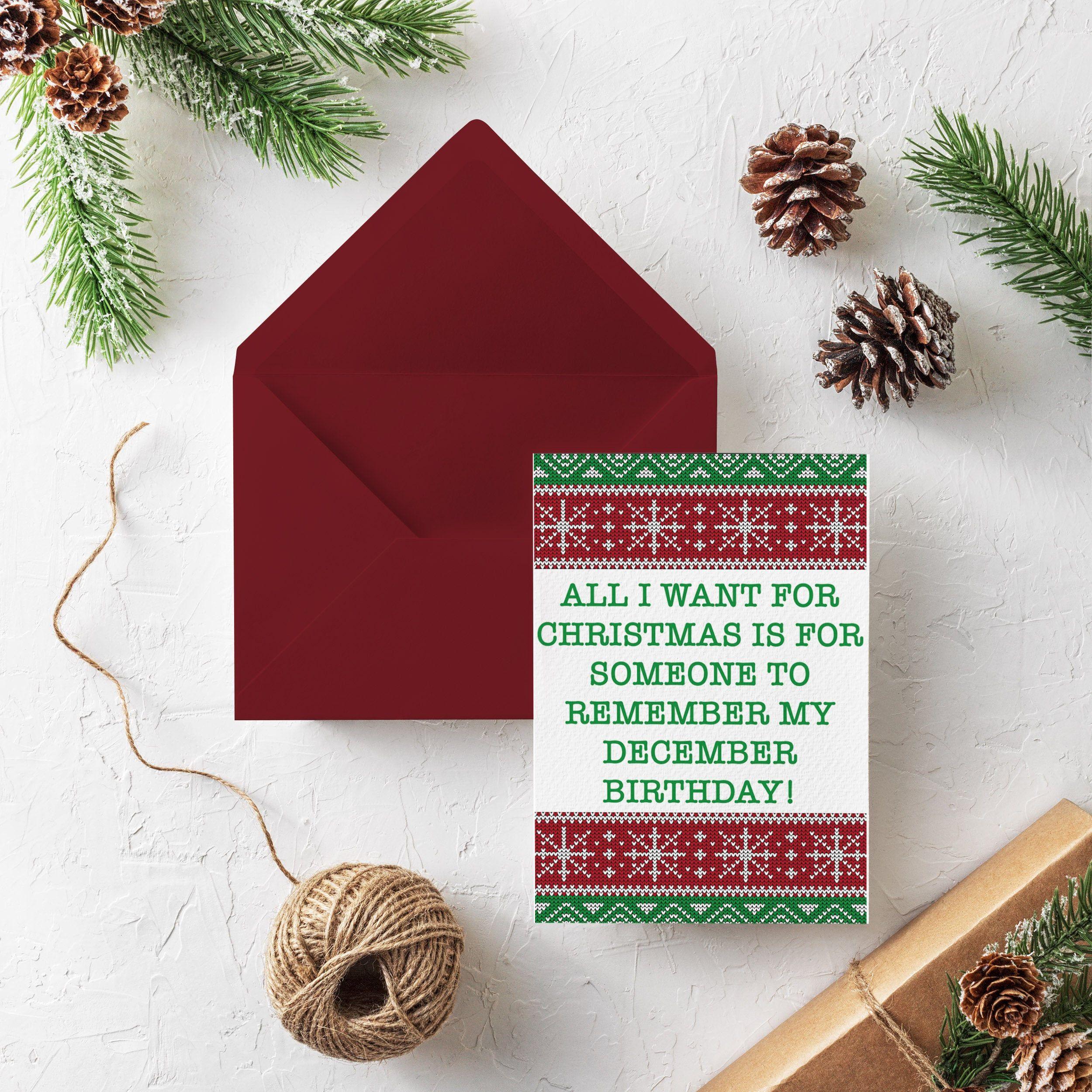 Christmas Birthday Card Holiday Birthday Card December Etsy Christmas Birthday Cards Halloween Greeting Card Greeting Card Shops