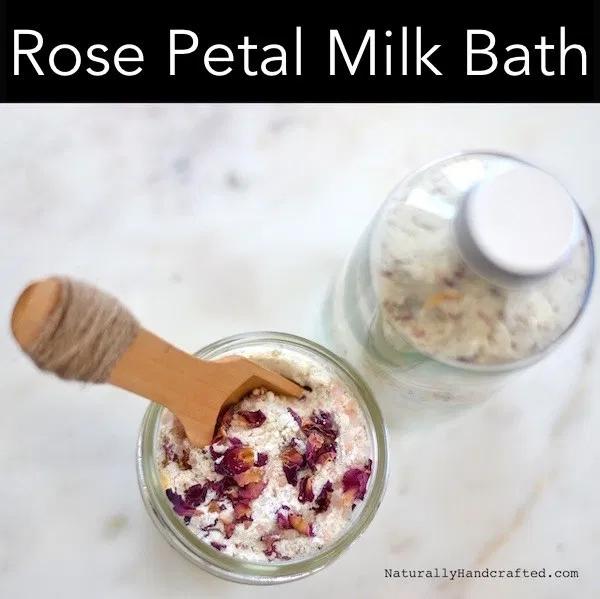 Rose Petal Milk Bath Soak with Oatmeal & Pink Salt - Naturally Handcrafted #milkbath