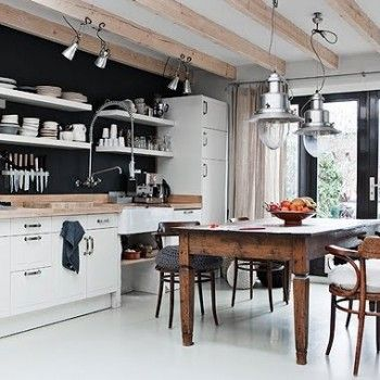 Black Kitchen Walls love this black and white kitchen with farmhouse table! | cottage