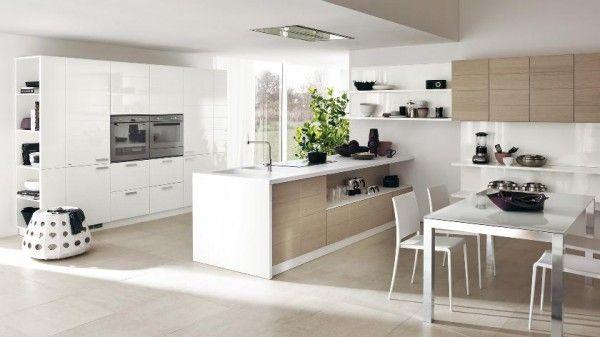 große offene küche weiß holz moderne designs scavolini, Hause ideen