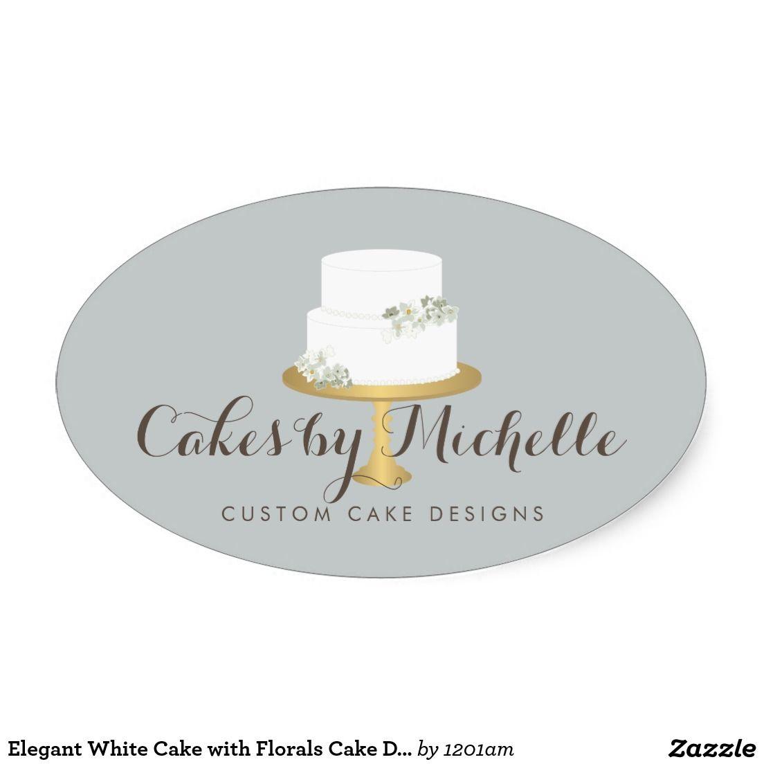 Elegant White Cake With Fls Decorating Oval Sticker