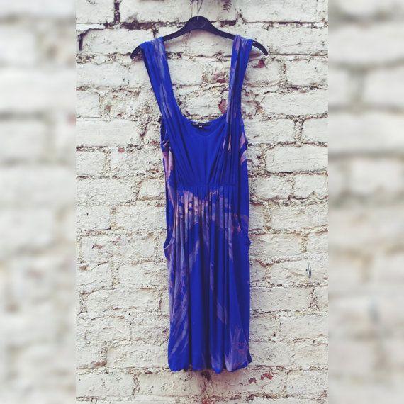 Tie Dye Dress with Pockets Blue Boho Dress to fit by AbiDashery