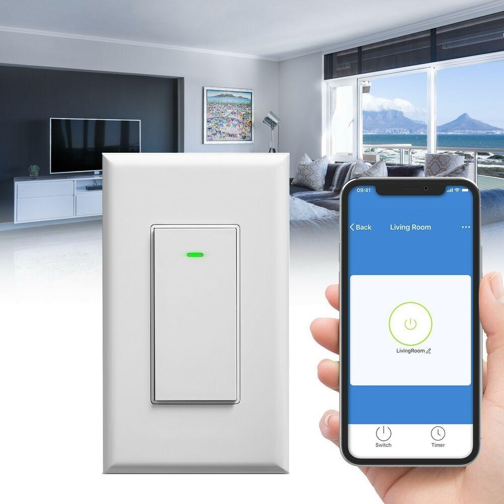 WiFi In Wall Smart Switch Light App Timer Alexa Google