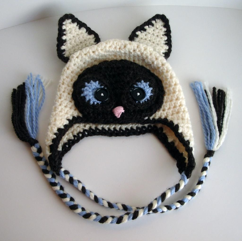 Siamese Cat hat crochet idea no pattern you have to