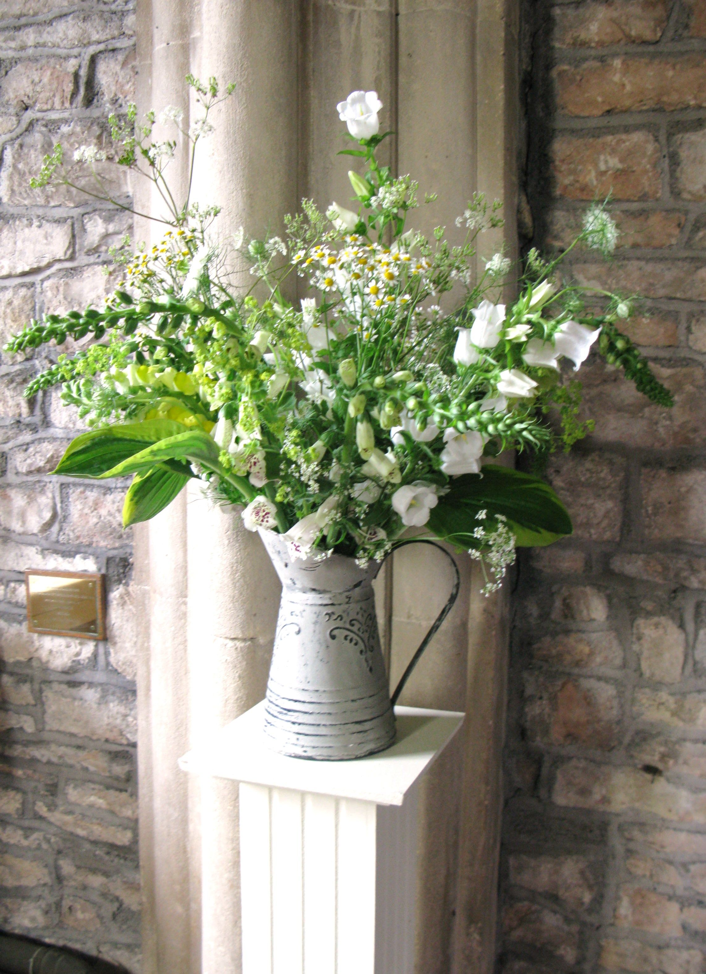 Rustic Jugs Of Wild Style Country Flowers Were Used Instead Of