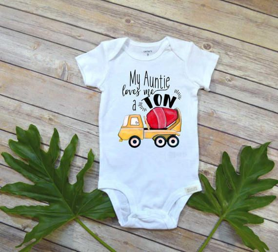 Aunt Onesie, My Auntie Loves me a Ton, Nephew Gift, Aunt Baby Bodysuit, Cute Boy Clothes, Auntie shirt, Nephew Shirt,Baby Shower Gift, Baby
