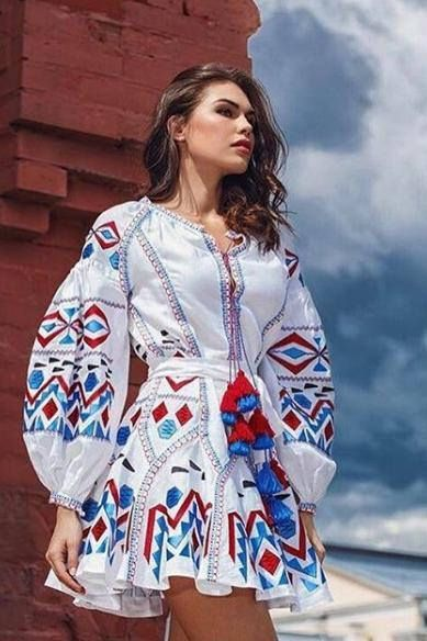 Fashion embroidered boho dress Bohemian wedding guest dress with Ukrainian embroidery Beach festival vyshyvanka Plus size tunic