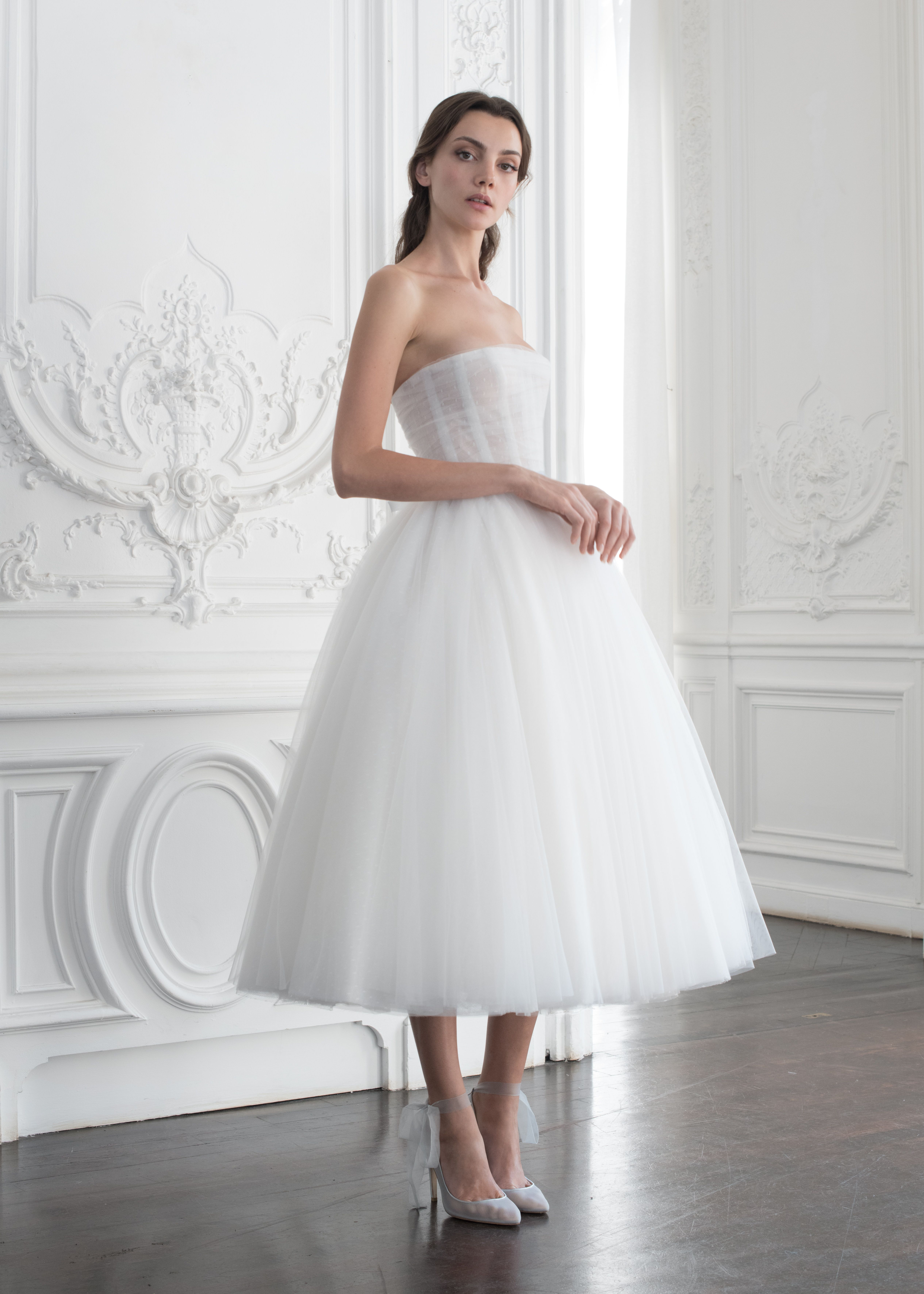 8547d3e3a4f A ballerina-inspired white gown with a full skirt from Paolo Sebastian s  haute couture autumn winter  18  19 collection.